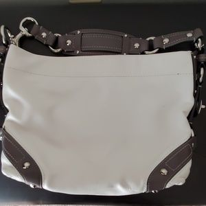 Winter white & dark gray Coach purse